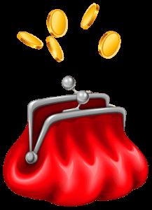 Нарисованный красный кошелек с монетами