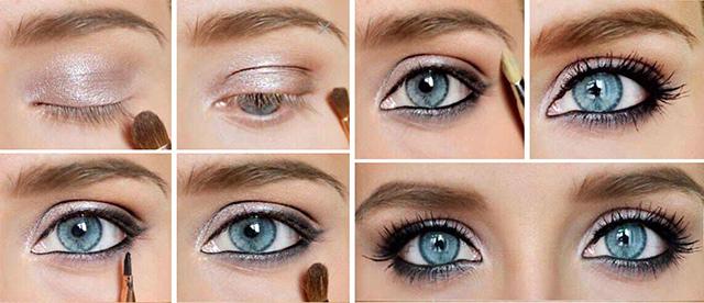 Повседневный макияж для голубых глаз пошагово