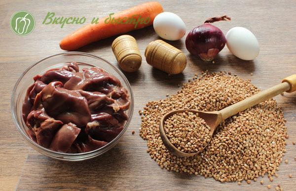 Печеночные котлеты с гречкой - ингредиенты