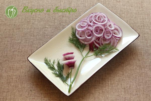 луковый салат, рецепт