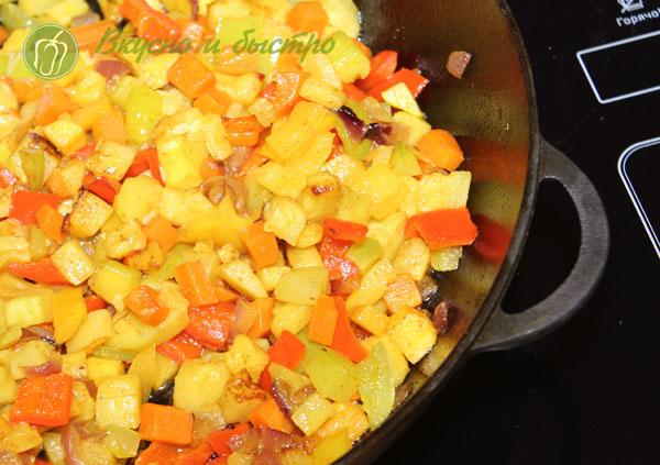 рис басмати с овощами - овощи готовы