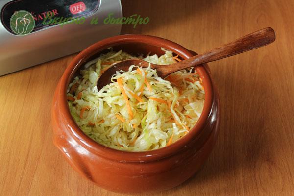 Маринованная капуста с чесноком и морковью быстрая в маринаторе