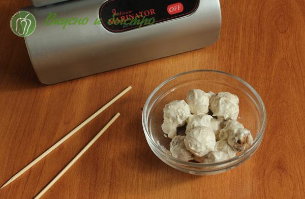 Как сделать шашлык из шампиньонов